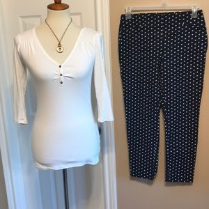 2 pc Chico's So Slimming pants & Vic Secret Henley